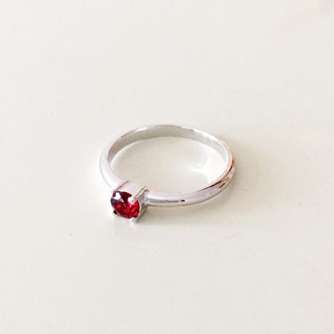 Garnet Silver Ring - Woment Designer Jewelry
