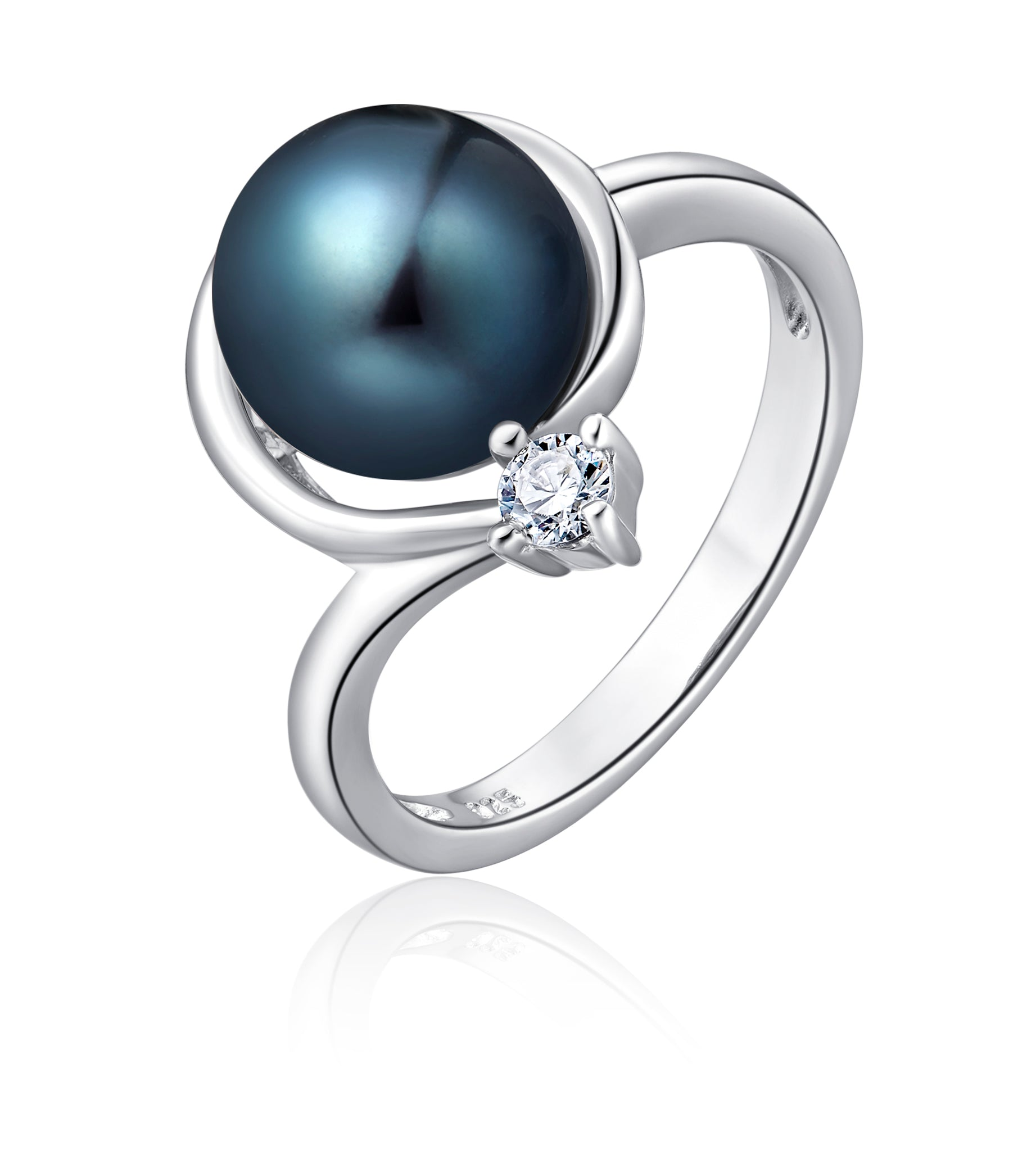 Freshwater Pearl Ring (Black Pearl) - Woment Designer Jewelry