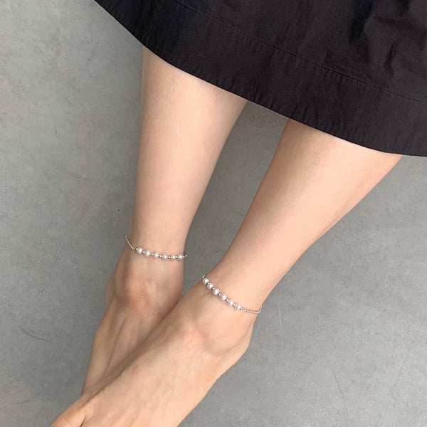 Freshwater Pearl Workshop Anklet 白色珍珠腳鏈 (訂做) - Woment Designer Jewelry