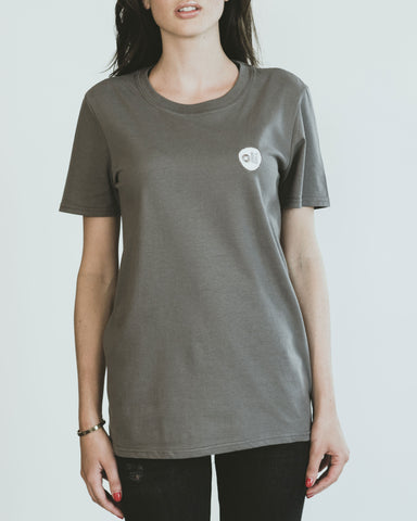 Stitched Logo Grey Unisex T-Shirt