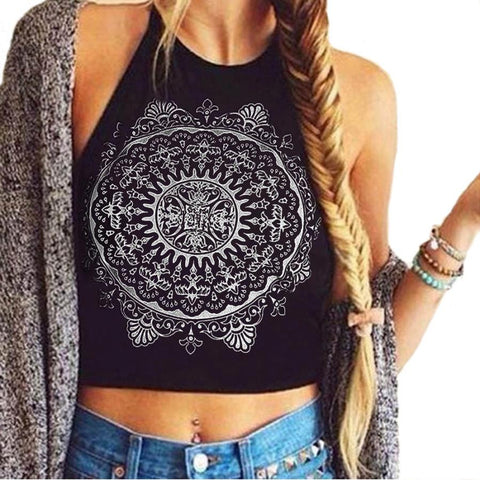 Mandala Print Sleeveless Tank Top