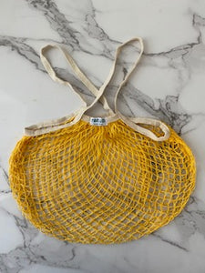 Cotton Tote - Yellow with Beige Handles