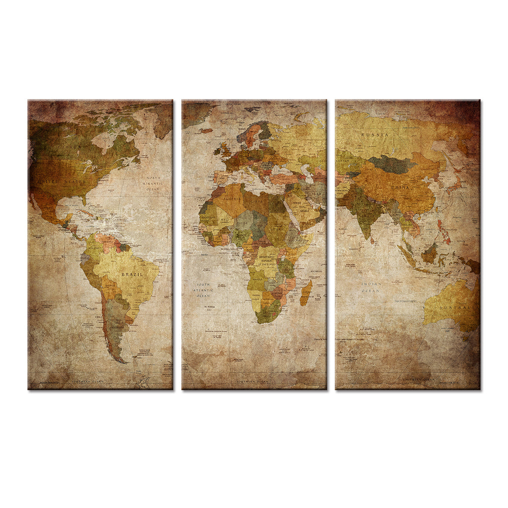 3 pieces canvas world map wall art travelifestyle 3 pieces canvas world map wall art gumiabroncs Image collections