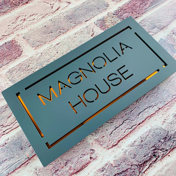 Modern House Name Bordered Rectangular Floating Acrylic House Sign