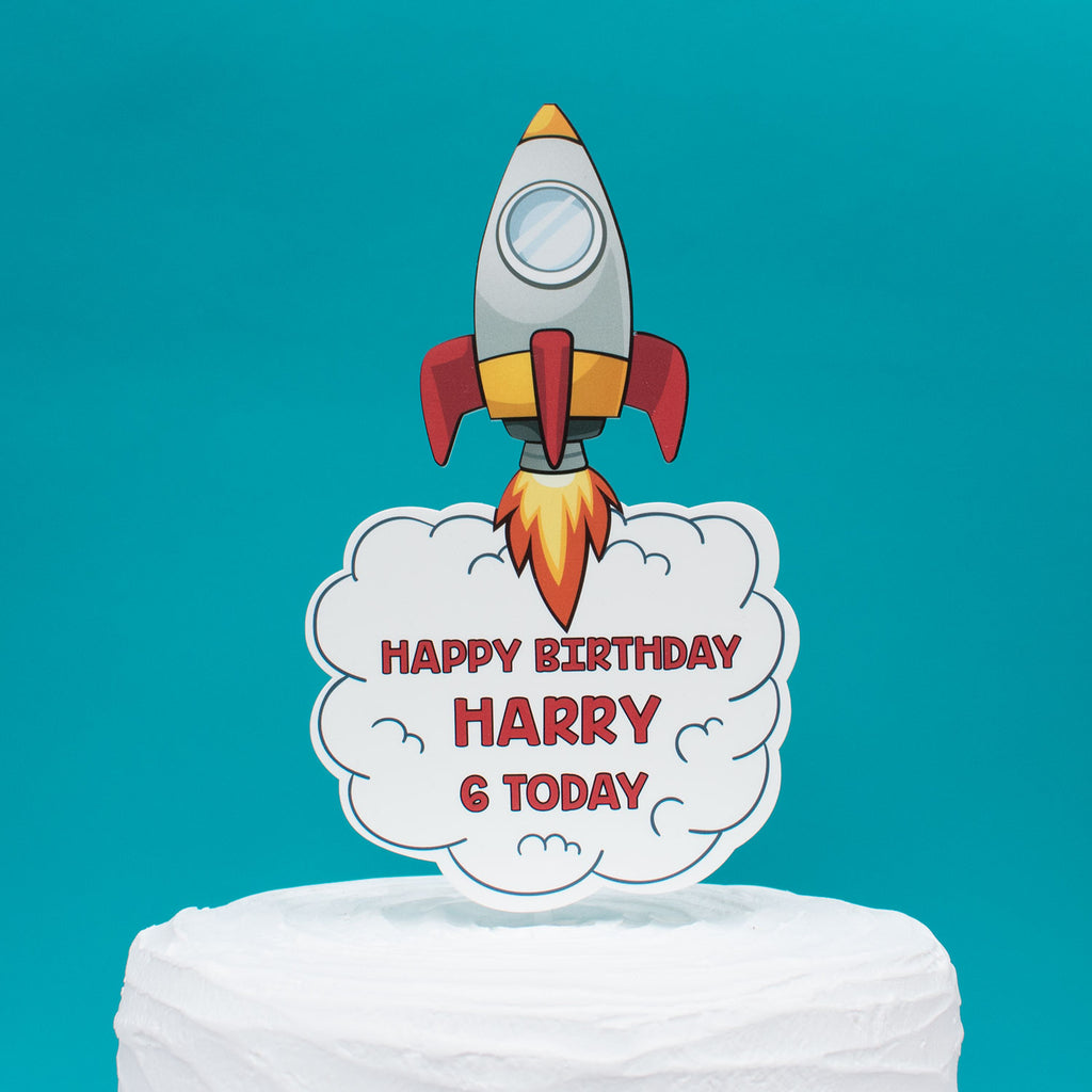 Cartoon Rocket Spaceship Acrylic Children's Cake Topper