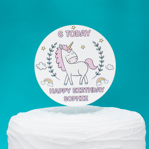 Cute Unicorn Girls Birthday Acrylic Cake Topper