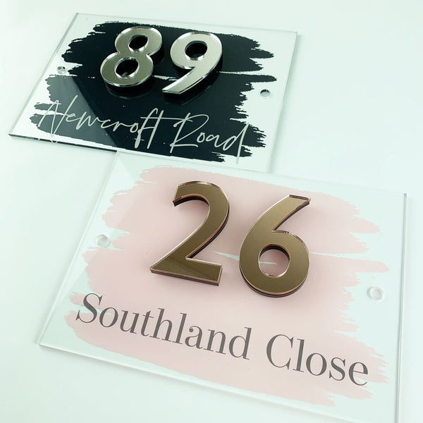 3D Mirrored Number Acrylic House Sign