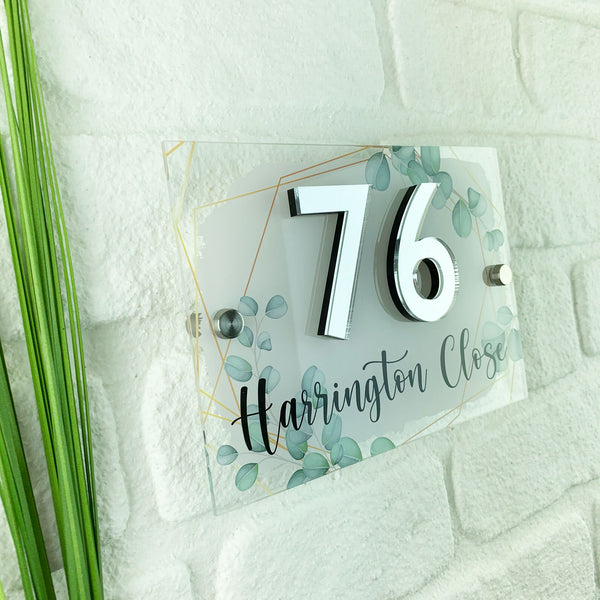 3D Mirrored Number Geometric Eucalyptus House Sign