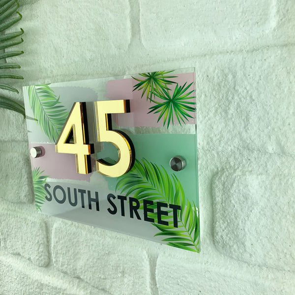 3D Mirrored Number Tropical Palm Acrylic House Sign