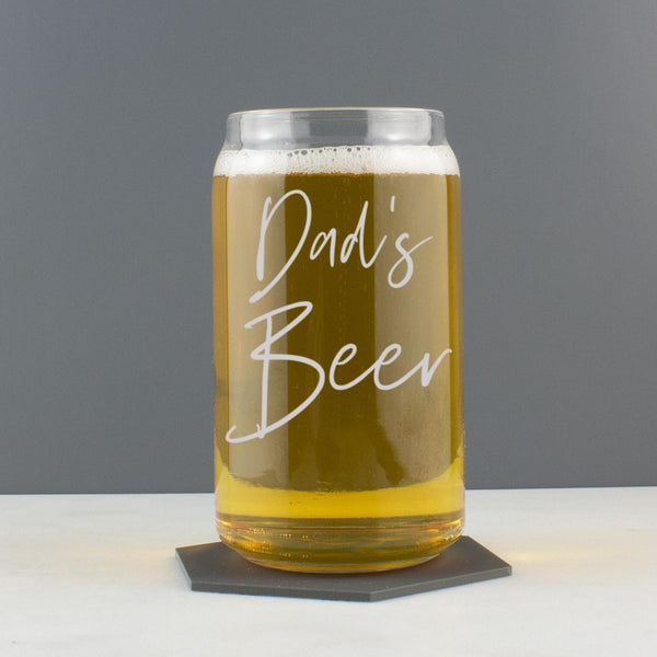 Personalised Handwritten Script Style Beer/Cider/Cocktail Can Shaped Glass