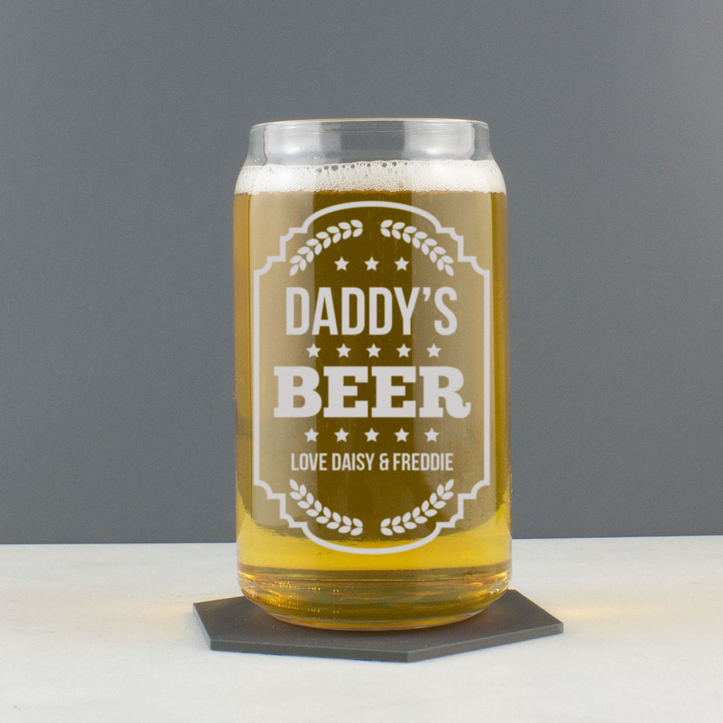 Personalised Beer Can Style Glass