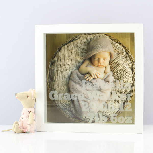 Personalised New Baby Laser Etched Print Framed