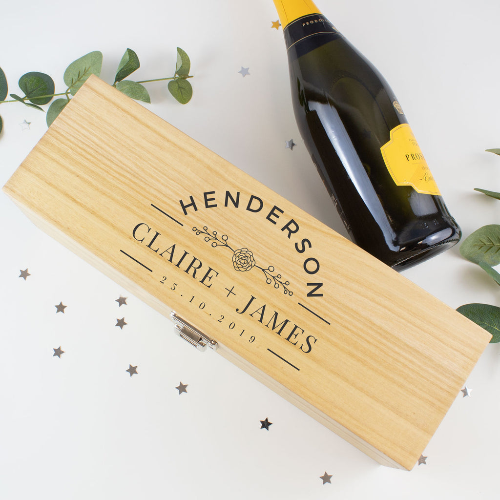 Personalised Couples Wooden Wine Gift Box - Wedding / Engagement / Anniversary