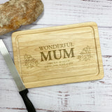 Wonderful Mum Personalised Wood Rectangular Chopping Board