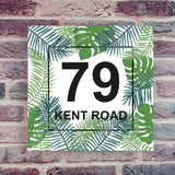 Tropical Palm Leaf Contemporary Acrylic House Number Sign