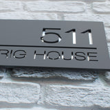 Modern Contemporary Large Rectangular Floating Acrylic House Sign