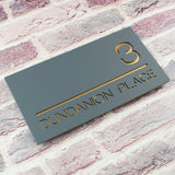 Modern Rectangular Acrylic House Sign in Mineral Grey and Copper