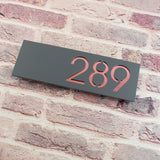 Modern 30x10cm Floating Acrylic House Number Sign Grey & Rose Gold