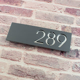 Modern Contemporary 30x10cm Rectangular Floating Acrylic House Number Sign