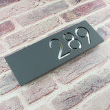 Contemporary 30x10cm Floating Acrylic House Number Sign Grey & Silver Mirror