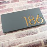 Contemporary 40x20cm Rectangular Floating Acrylic House Number Sign Grey & Copper