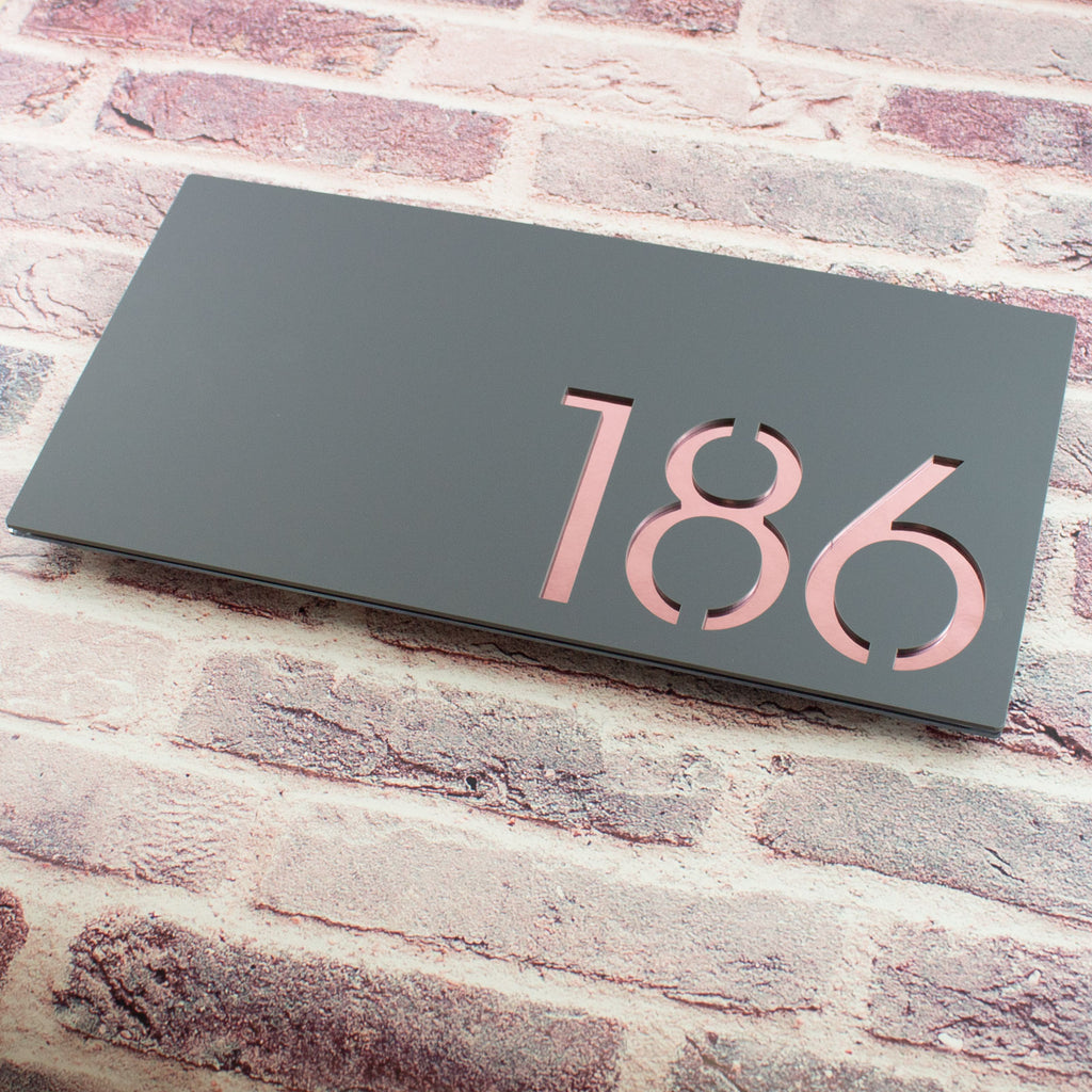 Modern 40x20cm Rectangular Floating Acrylic House Number Sign Grey & Rose Gold