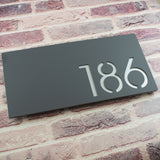 Modern 40x20cm Rectangular Floating Acrylic House Number Sign Grey & Silver Sparkle