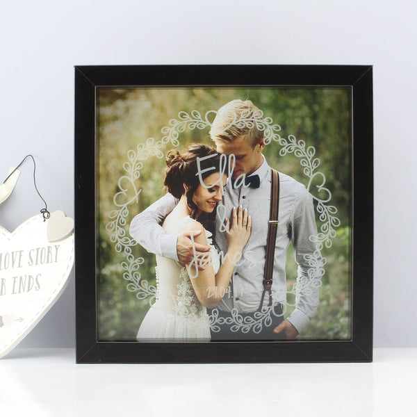 Personalised Couples Wreath Etched Frame Print