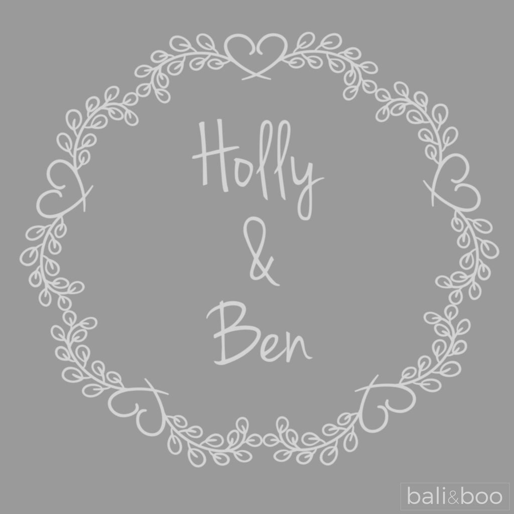 Personalised Wedding Wreath Etched Frame Print