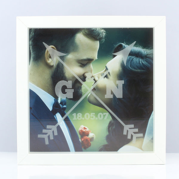 Personalised Couples Arrows Etched Frame Print