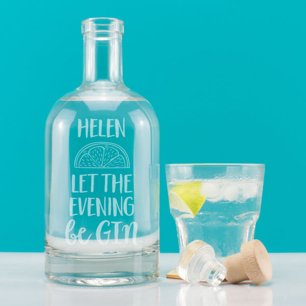 Personalised Let the Evening be Gin Decanter