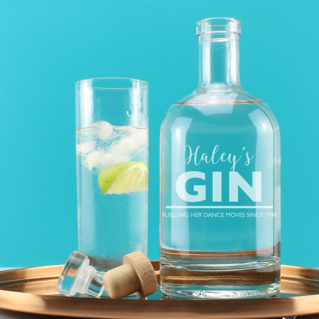 Personalised Gin Witty Message Engraved Drinks Decanter