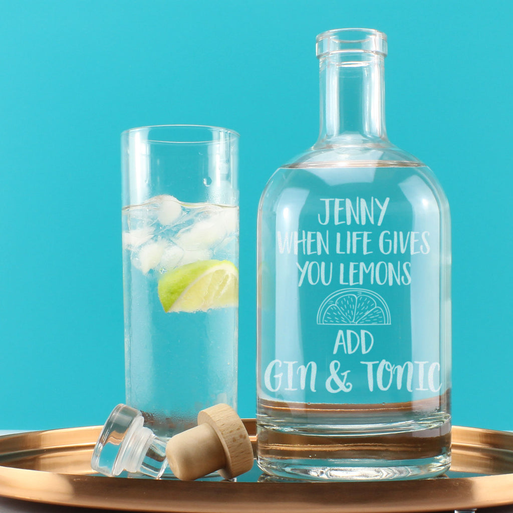 Personalised When Life hands you Lemons Gin Engraved Decanter
