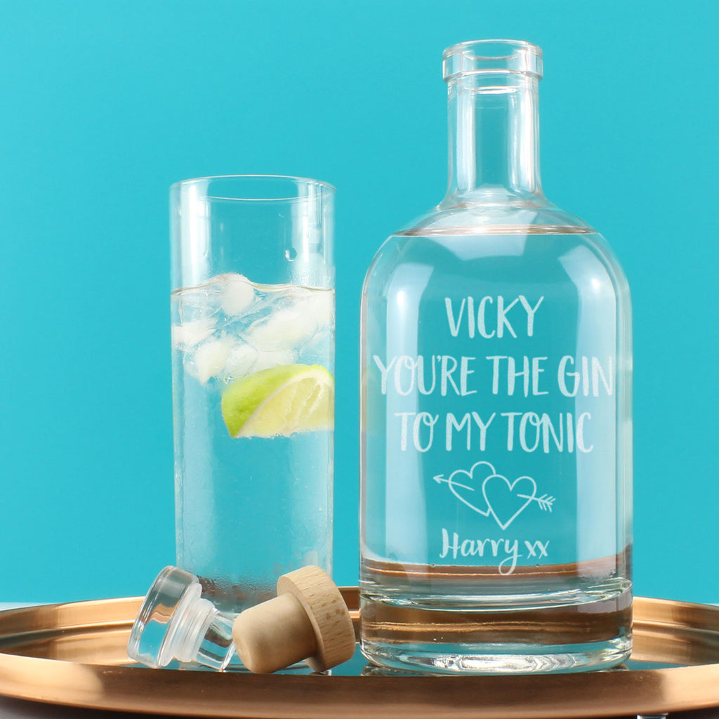 Personalised Your The Gin To My Tonic Engraved Drink Decanter