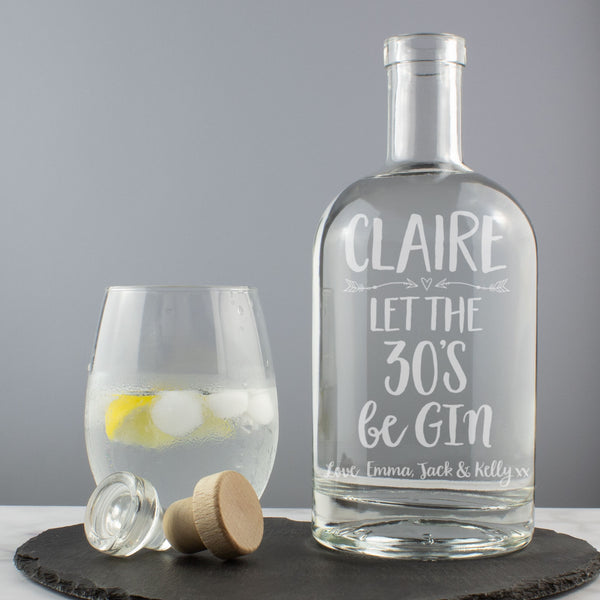 Personalised 30th Birthday - Let the 30's beGin Gin Drink Decanter