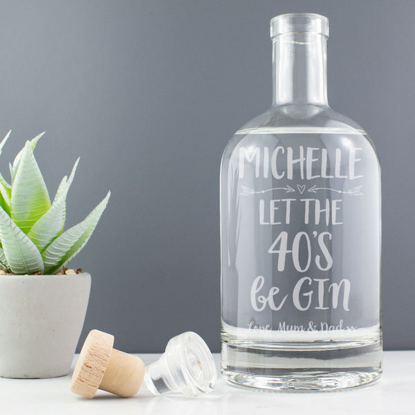 Personalised 40th Birthday - Let the 40's beGin - Gin Drinks Decanter