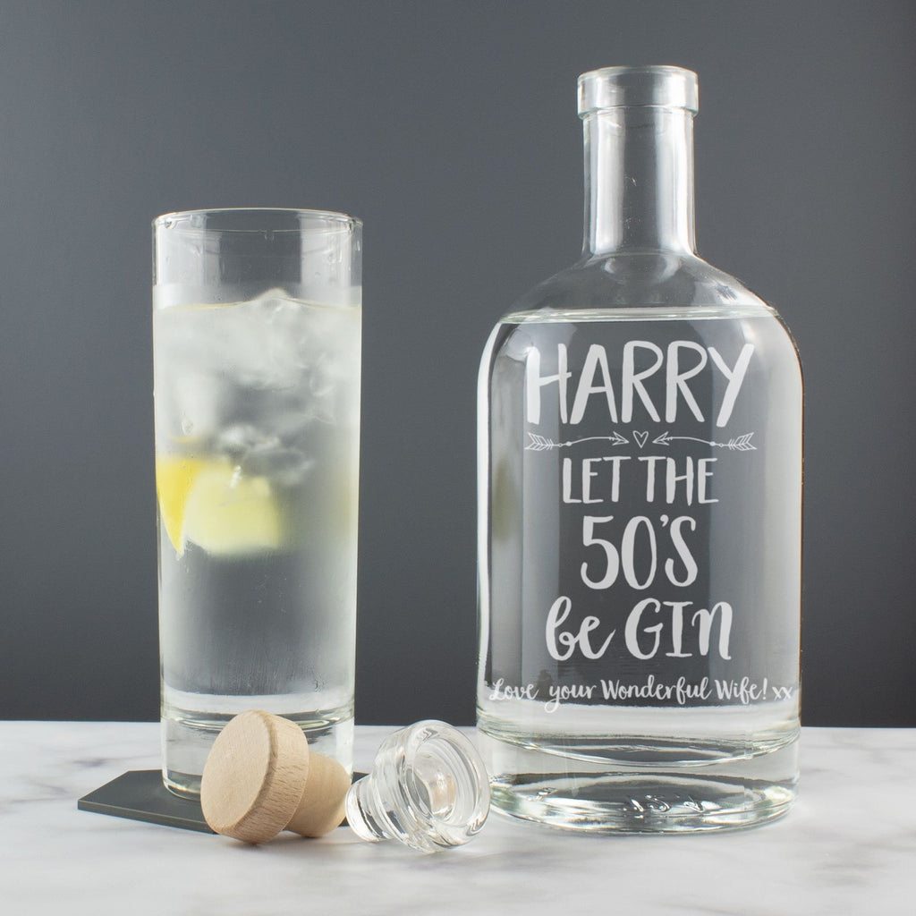 Personalised Milestone Birthday - Let the 20's, 30's, 40's, 50's, 60's, 70's beGin - Gin Drinks Decanter