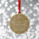 Personalised First Christmas as Mr & Mrs Tree Decoration