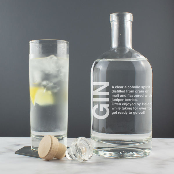 Personalised Gin Definition Witty Engraved Drink Decanter