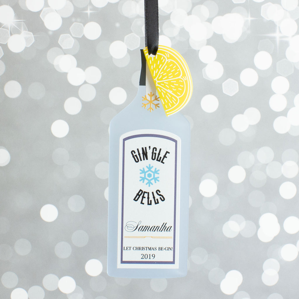 Personalised Blue Gin Bottle Christmas Gift Bauble Decoration