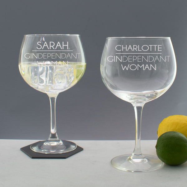 Personalised GINDependant Woman Copa Gin Balloon Glass