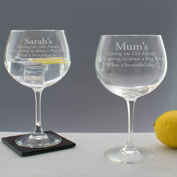 Personalised Going on a Gin Hunt Copa Balloon Glass