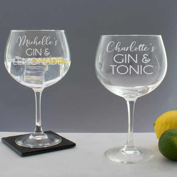 Personalised Gin & Tonic Script Copa Balloon Glass