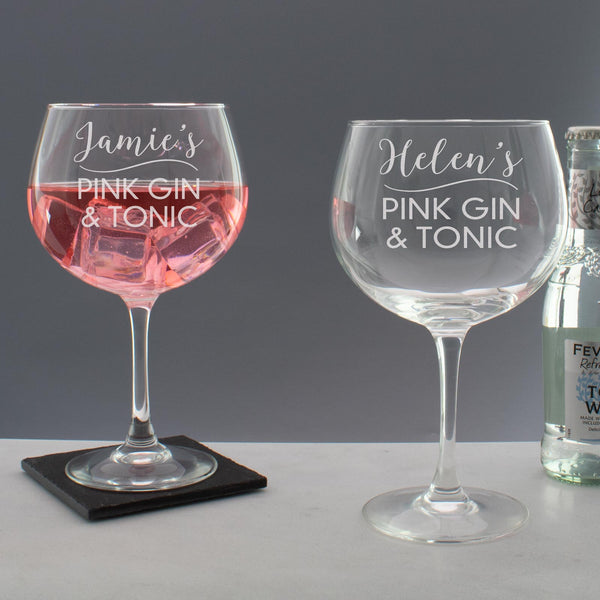 Personalised Pink Gin & Tonic Copa Balloon Glass