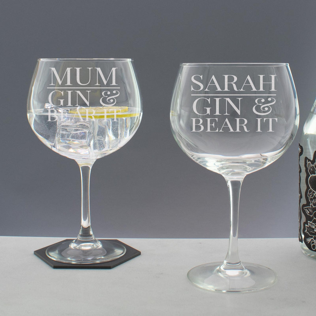 Personalised Gin & Bear it Copa Balloon Glass
