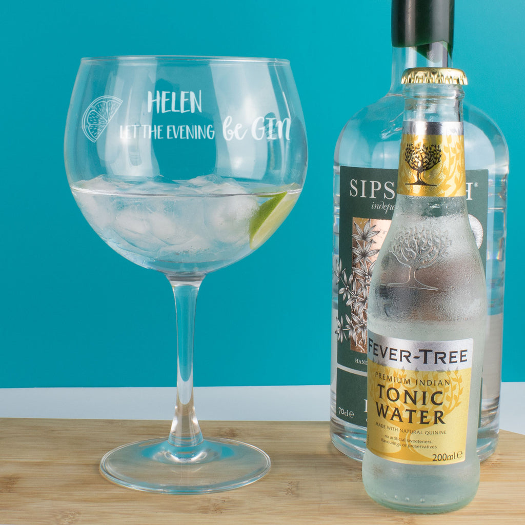 Personalised Let the evening be GIN Copa Balloon Glass