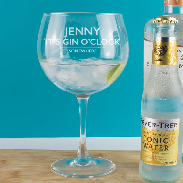 Personalised It's Gin O'Clock Somewhere Copa Balloon Glass