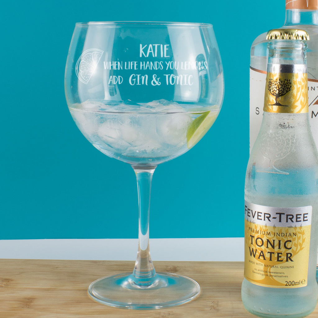 Personalised When Life Hands You Lemons Add Gin & Tonic Copa Balloon Glass