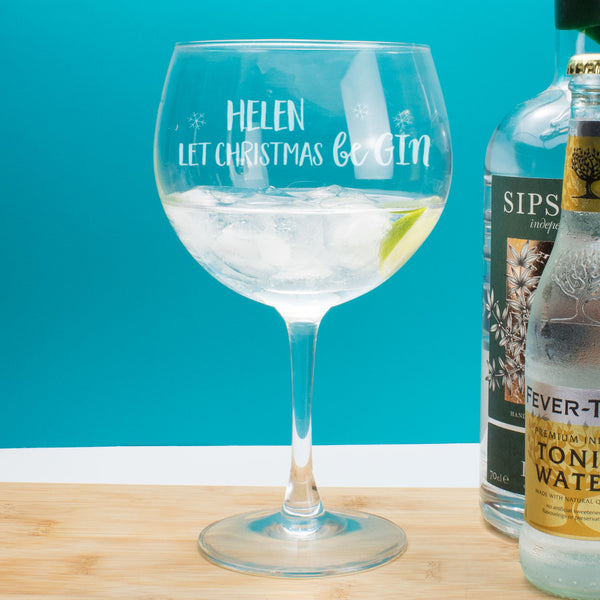 Personalised Let Christmas be Gin Copa Balloon Glass