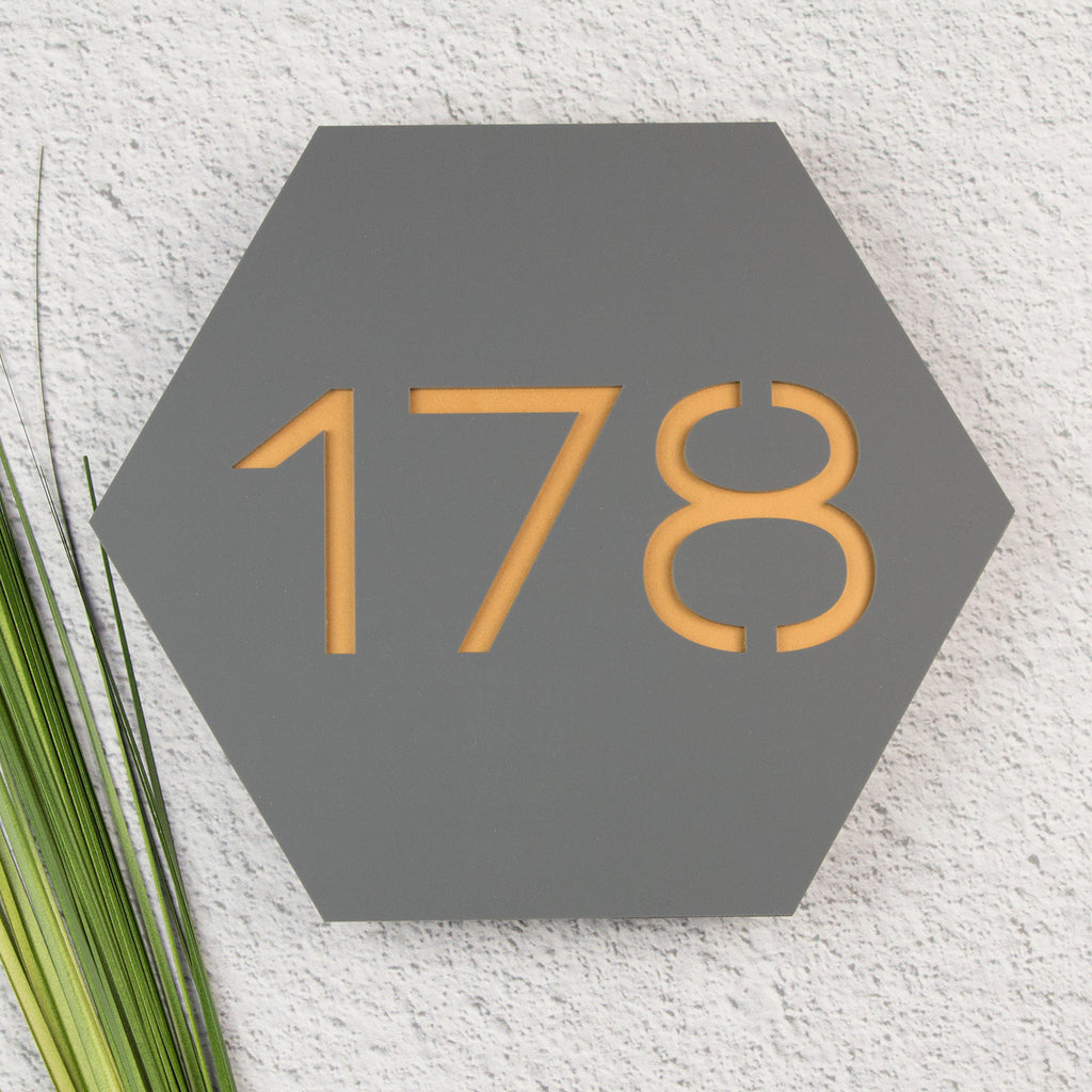 Modern Contemporary Hexagonal Floating Acrylic House Sign